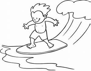 Ausmalbild Sport Junge Auf Surfbrett Kostenlos Ausdrucken