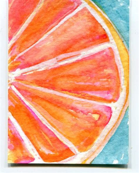 ruby red grapefruit watercolor painting aceo origina