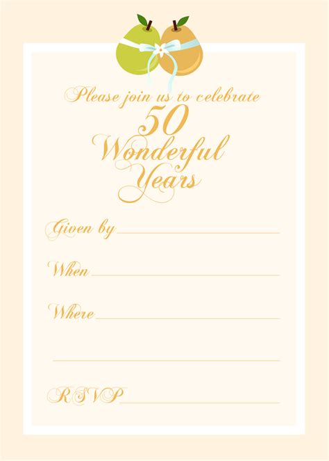 50th Anniversary Invitation Template Free