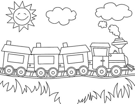 Printable Coloring Pages Transportation Train For