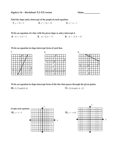 Point Slope form Worksheet with Answers