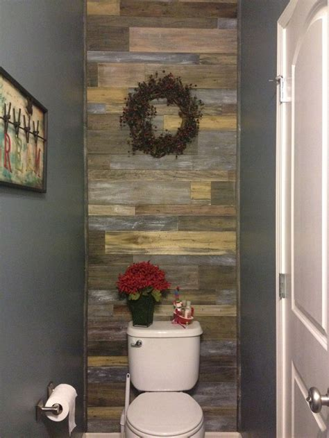 barn wood bathroom faux barnwood accent wall in powder room bathroom bought different width poplar 36 quot boards and