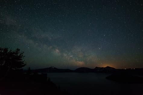 Landscape Mountains Night Galaxy Lake Water Nature Space
