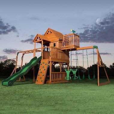 backyard jungle metal backyard discovery skyfort ii cedar swing set play set