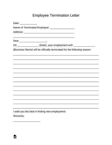 termination of employment form template free employee termination letter template pdf word eforms free fillable forms