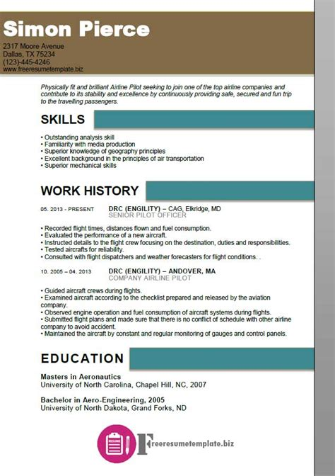 airline pilot resume template free resume templates