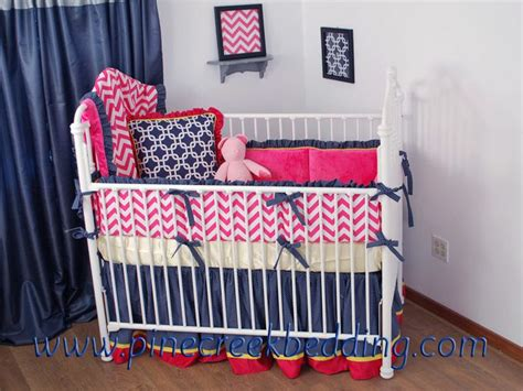 Pink And Navy Crib Bedding  Baby Interior Design