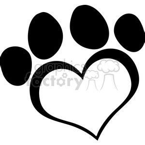 royalty  black love paw print  vector clip art