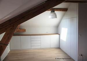 Meuble Pour Sous Pente : meuble de rangement sous pente wood agencement wood agencement ~ Melissatoandfro.com Idées de Décoration