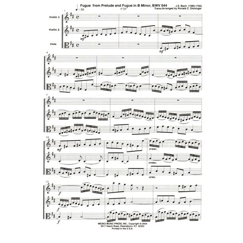Bach Js Fugue From Prelude And Fugue In B Minor Bwv