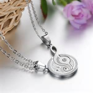 fingerprint wedding bands notes symbol titanium steel cz couples pendants necklaces matching set yoyoon 8940