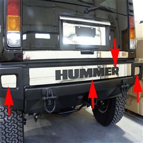 hummer  stainless steel rear bumper cover trim