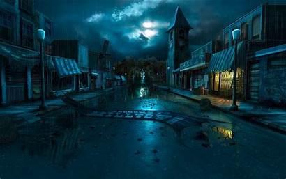 Town Night Background Wallpoper Dark Wallpapers Painting