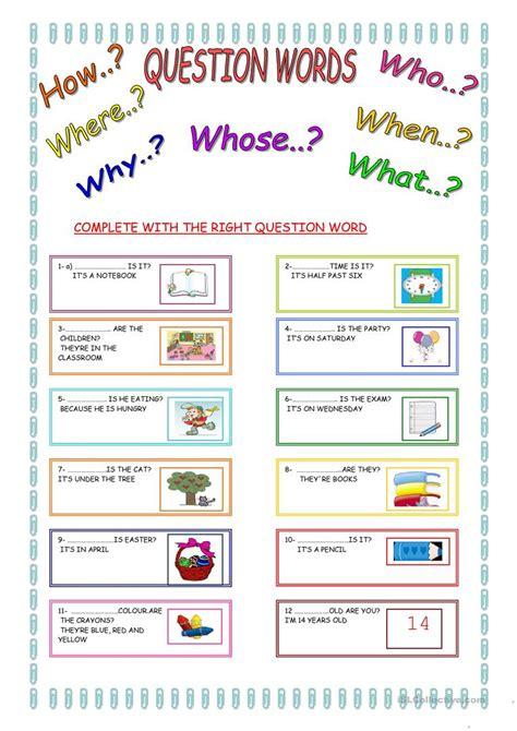 question words worksheets for kindergarten them