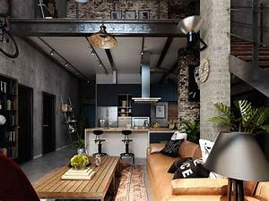 Rich, Industrial, Style, Unites, Jewel, Colours, With, Exposed, Brick, Walls