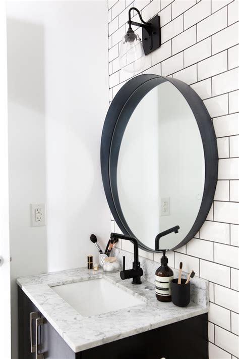 Black Oval Bathroom Mirror by Sterjovski S Black And White Space