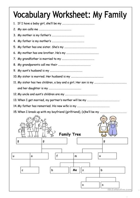 Vocabulary Worksheet  My Family (medium) Worksheet  Free Esl Printable Worksheets Made By Teachers