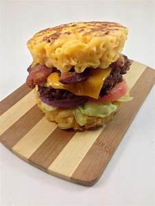 The Macaroni and Cheese Burger Bun DudeFoods com