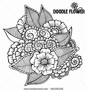 Flowers Vector Flowers Doodle Flowers Zentangle Stock