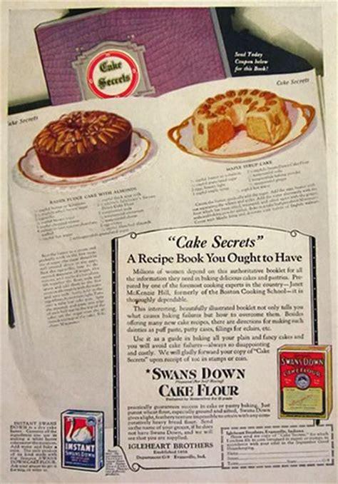 swans  cake flour ad  recipes vintage baking ads