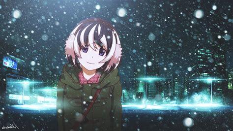 Anime Snow Wallpaper - monogatari series hanekawa tsubasa winter city