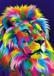 Colorful Digital Art Lion