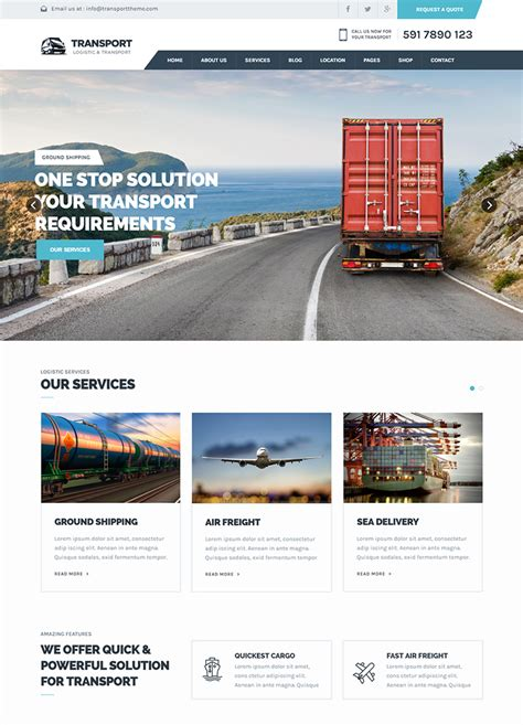 html5 template tag transport html5 template buy premium transport html5 template theem on