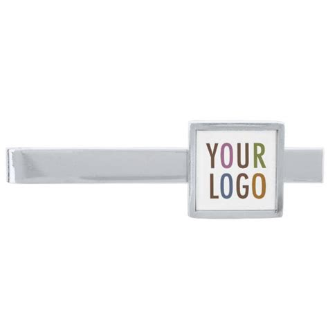 silver promotional custom tie clip company logo zazzle