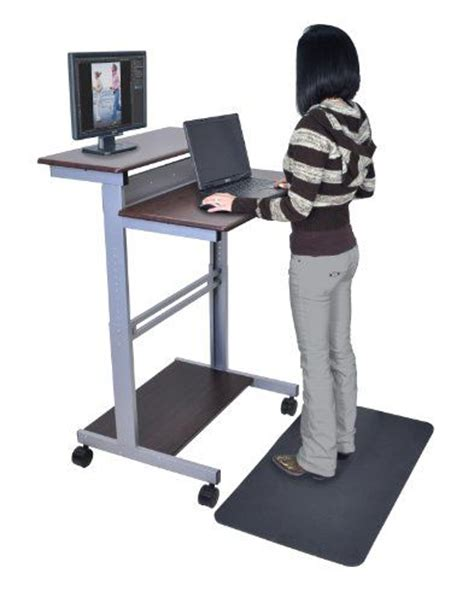 stand up desk floor mat 32 quot dark walnut shelves mobile ergonomic stand up computer