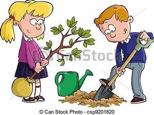 Vector Clip Art de plantación, árbol - el, niños, plantado ...