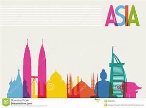 Diversity Monuments Of Asia, Famous Landmark Color Stock ...