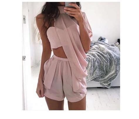 Top shorts romper light pink light pink/peach peach two-piece dress blouse pink cute ...