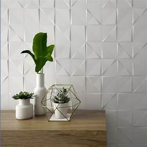carrelage mural geometrique a relief cuivre blanc With porte d entrée pvc avec faience salle de bain blanc mat