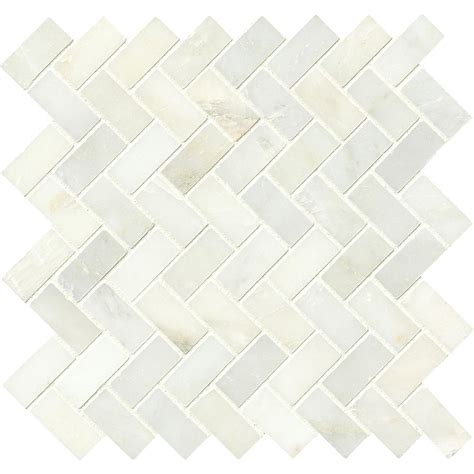 ms international greecian white herringbone pattern 12 in