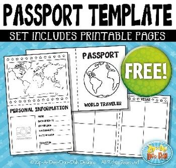 passport booklet template bundle zip  dee doo dah