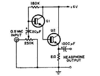 Simple Transistor Headphone Amplifier