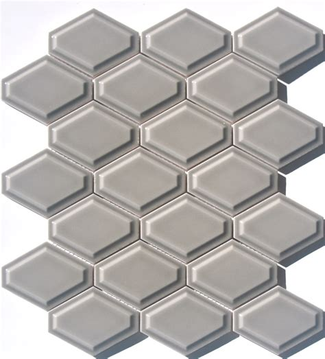 elongated hex tile lyric lounge collection elongated hex tile convex in dove gray