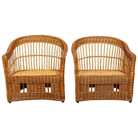 pair of mcguire rattan and wicker club lounge chairs and