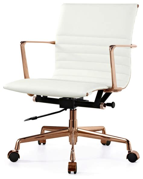 rose gold desk chair m346 office chair in rose gold and white italian leather