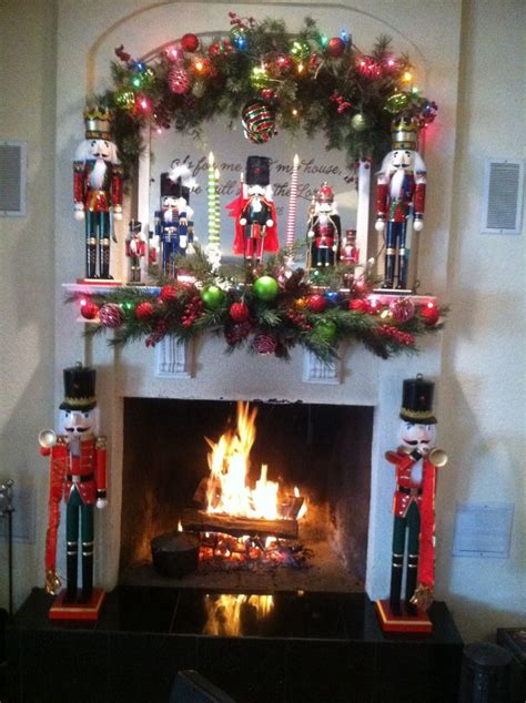 My nutcracker fireplace mantle.   Christmas Things   Pinterest