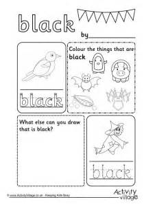 black colour worksheet