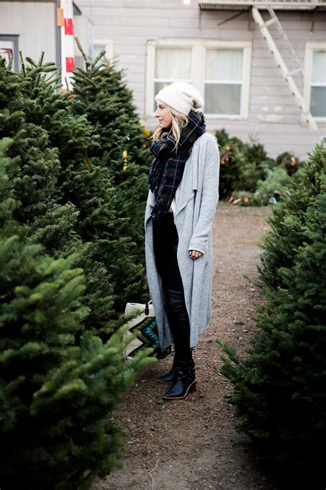 christmas tree lot ideas a visit to the tree lot in a plaid scarf