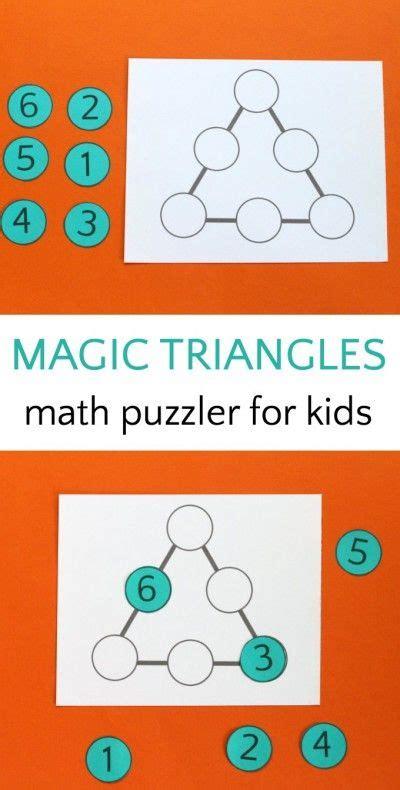 kids solve  magic triangle math puzzle