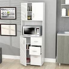 Kitchen Cabinet Storage White Microwave Stand Shelf 3