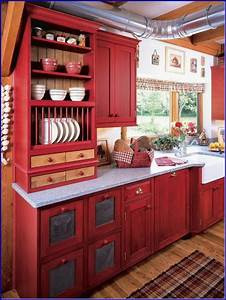: Perfect Red Country Kitchen Cabinet Design Ideas For ...