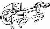 Coloring Horse Pulling Chariot Cart Drawing Charriot Horses Printable Clipart Drawings Takes Stuff Desenho Cavalo Animal Cool sketch template