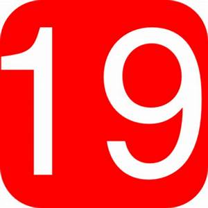 Red, Rounded, Square With Number 19 Clip Art at Clker.com ...