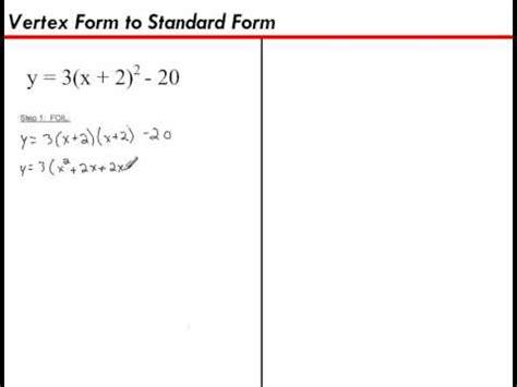 vertex form to standard form youtube