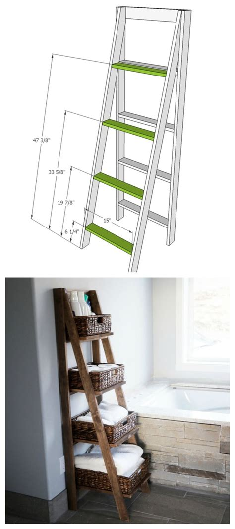 ana white wooden ladder shelf diy projects