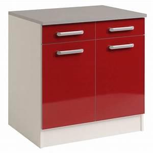 Meuble Bas 2 Portes : meuble bas 2 tiroirs 2 portes 60 cm shiny rouge ~ Dallasstarsshop.com Idées de Décoration